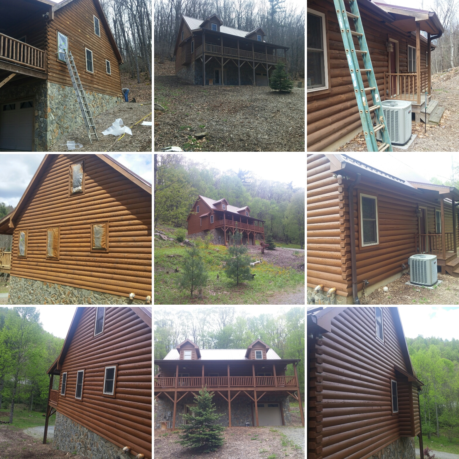 Log home refinishing and wood restoration services in